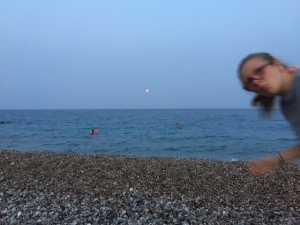 Waiting for the moon.  And some random photo bomber...